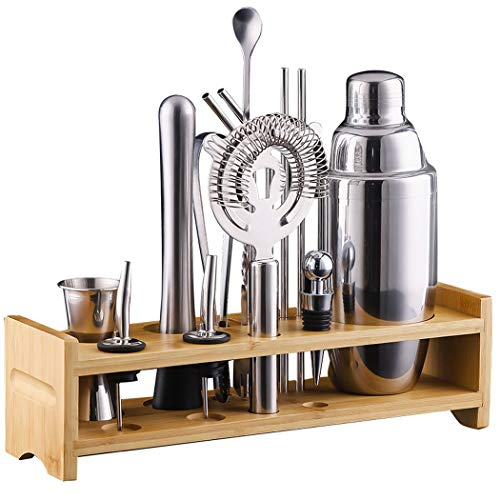 Bartender Kit, 15-Pack Cocktail Shaker Set with Stainless Steel Bar Tools With Sleek Bamboo Stand, Perfect Home Bartending Kit and Martini Cocktail Shaker Set, Best Bartender Kit for Beginners