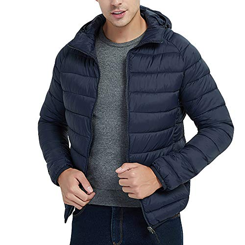 Beonzale Herren Herbst Winter Casual Langarm Solid Style Light Weight Daunen Baumwollmantel Kapuzen Mantel Sweatshirt Jacke Mantel