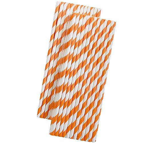 Benedict 25 cannucce di carta a righe arancioni e bianche, ecologiche, per succhi di soda e cocktail