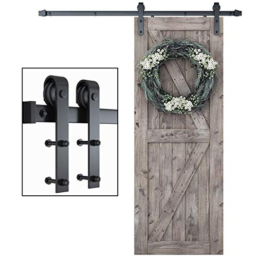 """SMARTSTANDARD 6ft One-Piece Track Sliding Barn Door Hardware Kit -Smoothly and Quietly -Super Easy to Install -Includes Step-by-Step Installation Instruction, Fit 36"""" Wide Door Panel (J Shape Hanger)"""