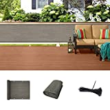 SUNLAX Balcony Privacy Screen, 3'x16' Fence Mesh 90% Blockage Net Tarp Cover for Outdoor Rail Deck Brown Color