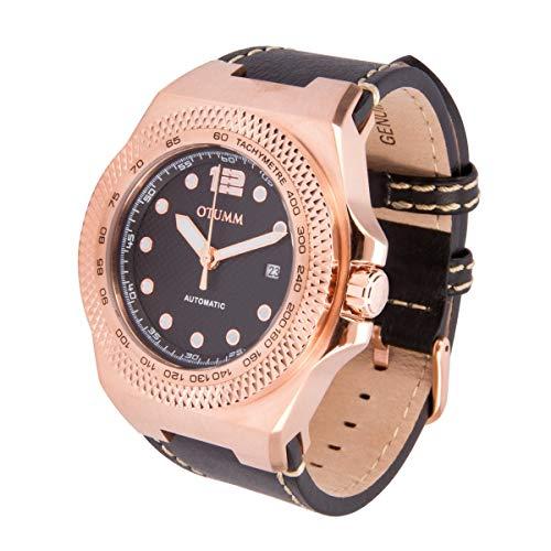 Otumm Automatik AUA001 Rose Goldene 45mm Schwarz Leder Armband Uhr