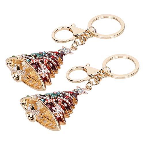 Christmas Tree Keyring, Fashionable Lovely Key-Ring, Zinc Alloy Metal Durable Portable Pendant Key Chain, for Christmas Birthdays(red)