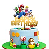 Acrylic Mario Happy Birthday Cake Topper Video Gaming Figures Theme Cake Topper for Kids Birthday Party Decoration Suppliers Game Boys Girls Party Favors