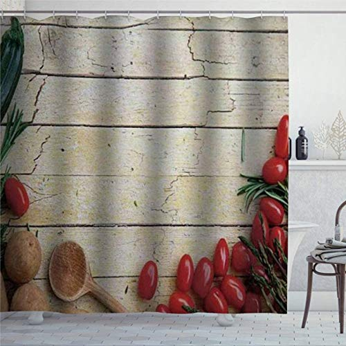 EricauBird Duschvorhang Kochen Gemüse Rezept Küchenzubehör Chef Rustikal Holz Bio Utensil Cafe Art Duschvorhang mit Ringen Polyester Stoff Duschvorhänge mit Haken Bad Badezimmer Dekor