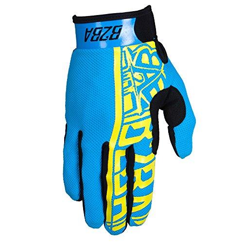 B2BA Clothing RACEWEAR leichte Handschuhe Mountain Bike Downhill Enduro Motocross Freeride DH MX MTB BMX Quad Cross, schnelltrocknend, rutschfest und atmungsaktiv, Farbe Neon Blau Gelb, Größe M