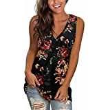 Gemira Floral Tank Tops for Women Plus Size V Neck Strappy Tops Summer Fashion Sleeveless Loose Shirts Tunic Top Blouses