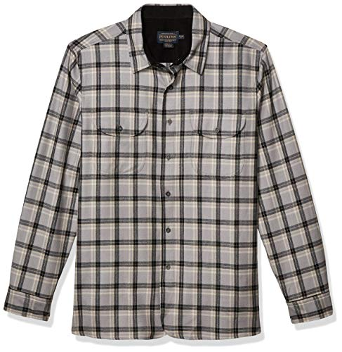 Pendleton Herren Long Sleve Front Buckley Shirt Button Down Hemd, Grau/Schwarz kariert, Groß