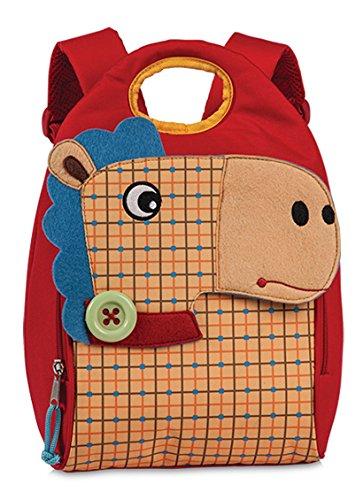 Kinderrucksack Kindergarten Tasche ca. 21 x 33 x 16,5 cm Kinder Rucksack Rot mit süßem 3D Filz-Tier Pferd kariert