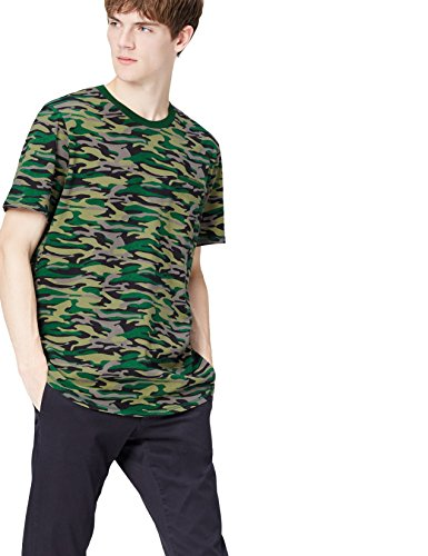Marca Amazon - find. Camiseta Camuflaje para Hombre, Verde (Khaki), XL, Label: XL