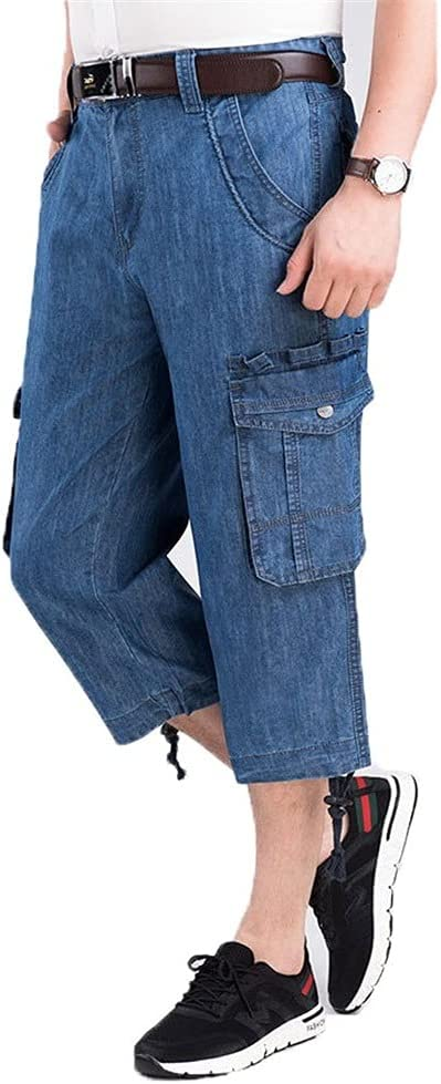 GELTDN Men's Summer Breeches Multi Side Pocket Casual Male Straight Long Blue Denim Loose Cargo Shorts (Color : A, Size : 38 Code)