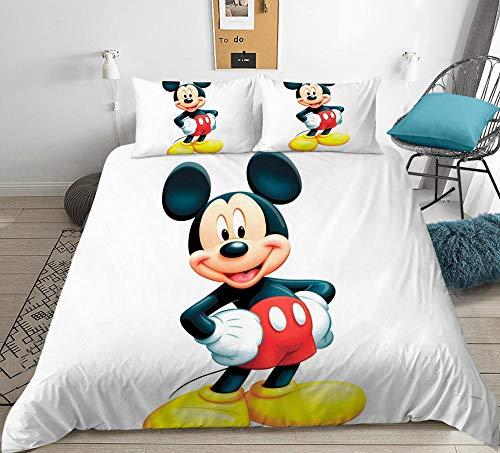 Dibujos animados para niños 3D anime Mickey Mouse funda nórdica juego de cama, dormitorio de niño niña cama doble individual funda edredón ropa de cama textiles para el hogar-C_200x200cm (3pcs