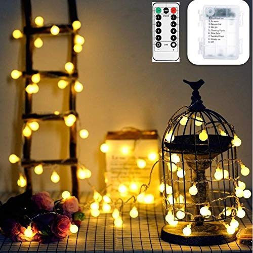 33ft 100 LEDs Battery Operated String Lights Globe Fairy Lights with Remote Control for Outdoor/Indoor Bedroom,Garden,Christmas Tree[8 Modes,Timer ] (Warm White)