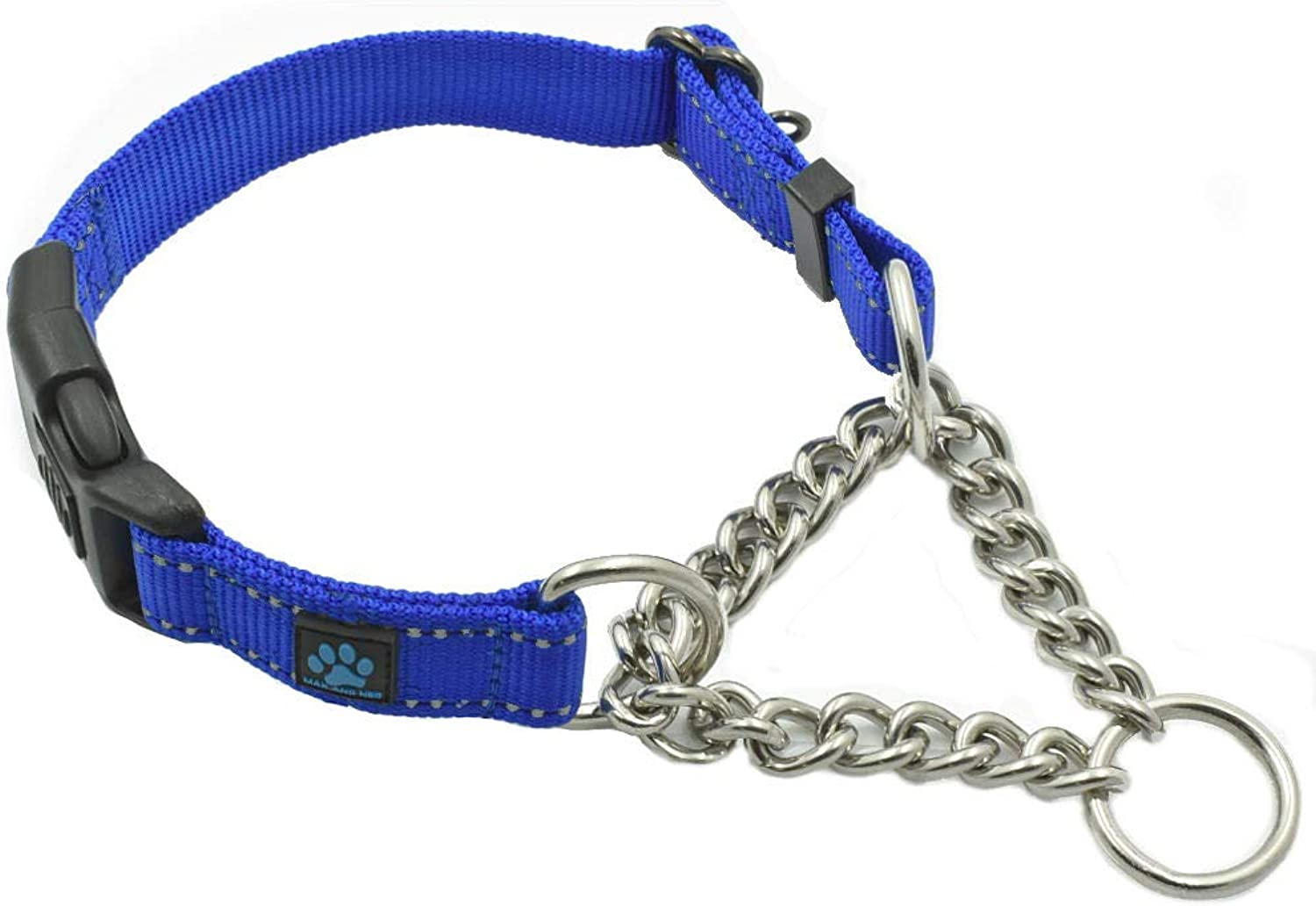 Max and Neo Stainless Steel Chain Martingale Collar  We Donate a Collar to a Dog Rescue for Every Collar Sold (Medium Large, bluee)