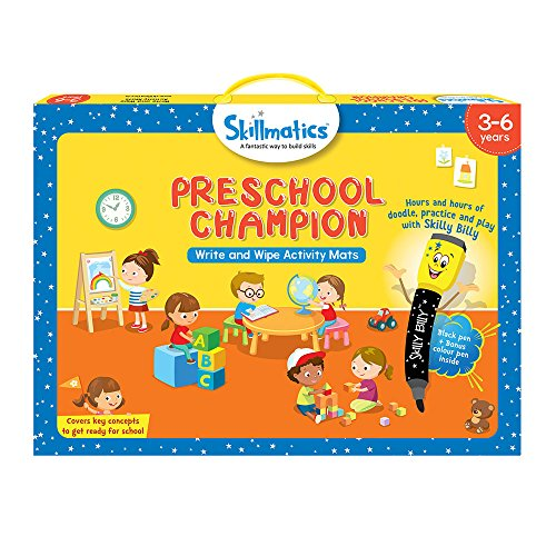Skillmatics Educational Game: Preschool Champion (3-6 Years) | Erasable and Reusable Activity Mats with 2 Dry Erase Markers | Learning Tools for Boys and Girls 3, 4, 5, 6 Years