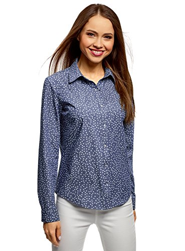 oodji Ultra Mujer Camisa Vaquera Estampada, Azul, ES 42 / L