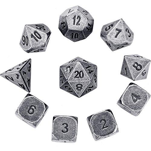 Hestya 10 Piezas de Dados Multifacéticos de DND D&D Juego de Dados Poliédricos de Metal con Números Impresos y Bolsas de Almacenamiento de Terciopelo para Juego de Papel Dungeons y Dragons (Plata)