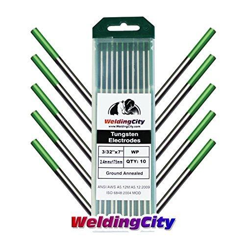 WeldingCity 10-pk Premium TIG Welding Tungsten Electrode Rod Pure (Green, EWP) 3/32