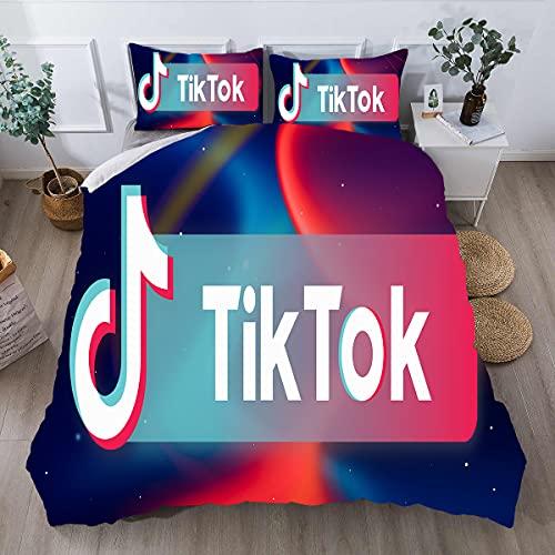 Probuk Tik Tok - Biancheria da letto con stampa 3D + federa 50 x 75 cm, in microfibra con chiusura lampo, set di biancheria da letto per bambini e adulti (3,135 x 200 cm (80 x 80 cm)
