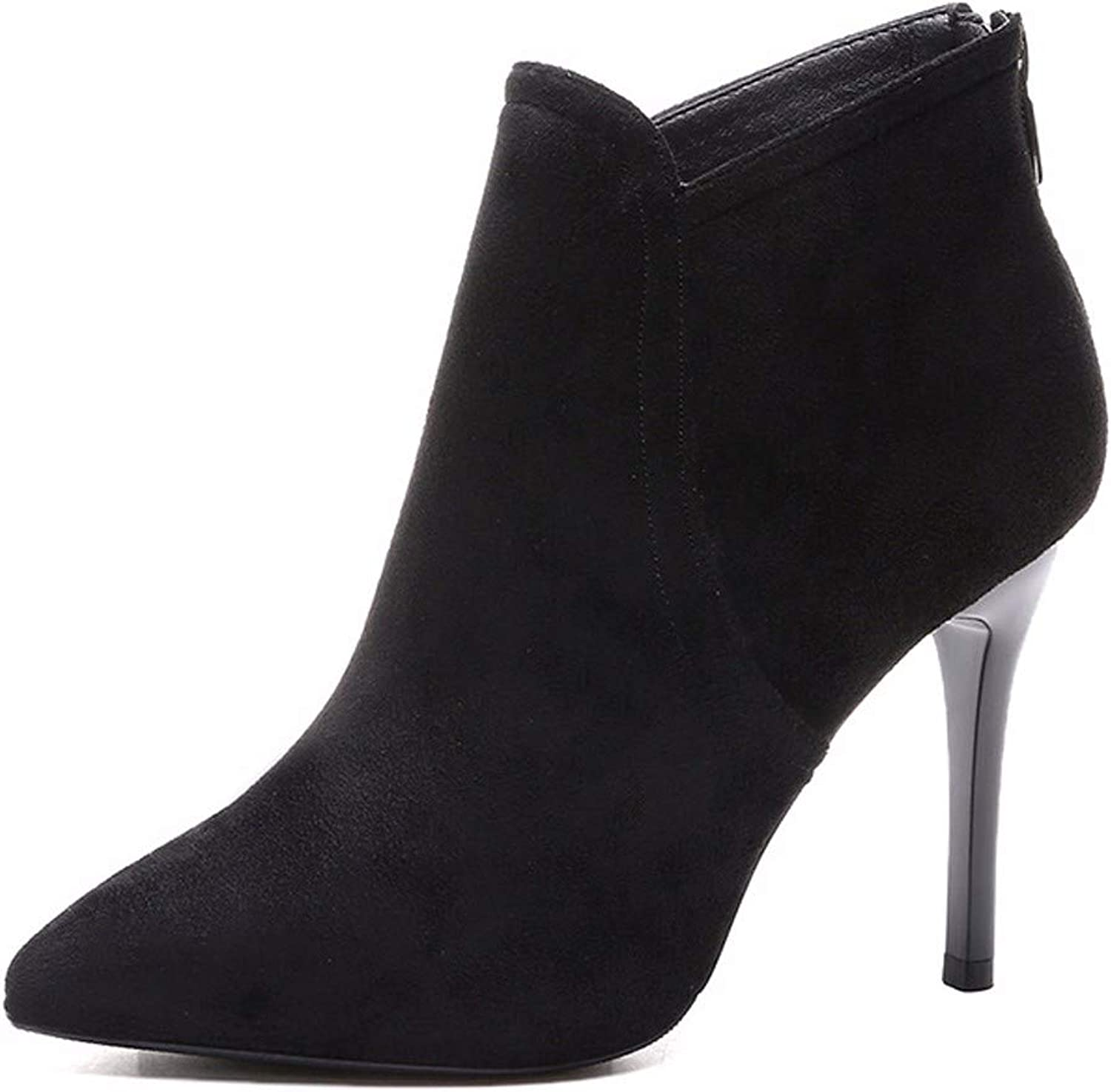 SFSYDDY Popular shoes Velvet Short Boots High 9Cm Black Frosted Wild Martin Boots Pointed Thin Heels and Bare Boots.
