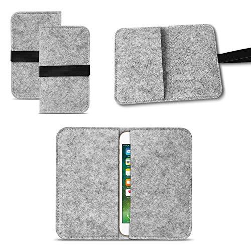 UC-Express Universal Smartphone Cover Tasche Handytasche Hülle Hülle Schutzhülle Sleeve Filztasche mit Kartenfach, Farbe:Hell Grau, Smartphone:Allview P5 Lite