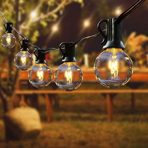 Guirnalda Luces Exterior, FOCHEA 15M Guirnaldas Luminosas con 50 Bombillas y 6 Bombillas de Repuesto IP44 Impermeable para Interior y Exterior Patio, Jardín, Boda, Partido