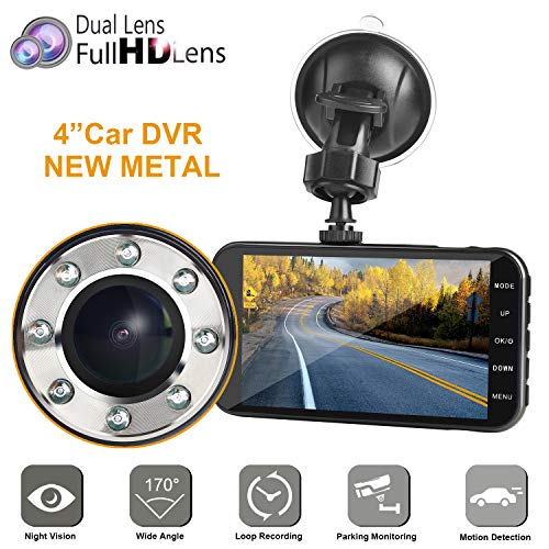 """Dual Dash car cam, MI Yang FHD 1080P Camera Front and Rear with Night Vision,2 Channel 310° Wide Angle Lens 4"""" Screen Dashboard cam, G-Senor, Parking Monitor,Motion Detection.for Trucks Driver"""
