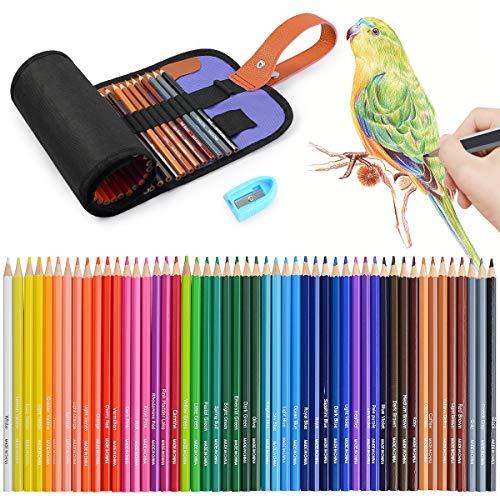 50 Coloured Colouring Pencils Set,Art Color Pencil Set with Portable Roller...