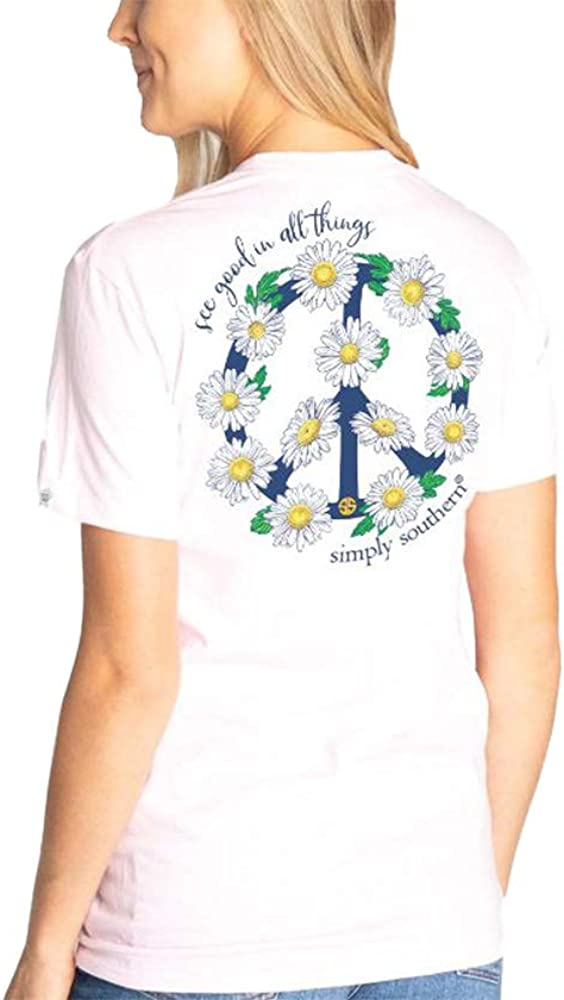 Simply Southern See Good in All Things Daisy Peace Sign Short Sleeve T-Shirt