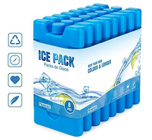Homewit Kühlakkus, 210ml x 8er Set Kühlelemente für die Kühltasche oder Kühlbox, Schlankes und leichtes Design Wiederverwendbar und Langlebig - Blaue