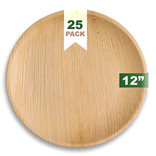 Ecozoi Extra Large Disposable Palm Leaf Plates 12' Round, 25 Pack Eco-friendly Dinnerware Set, Biodegradable Compostable Tableware Dinner Plates, For Weddings, Parties, Events, Camping