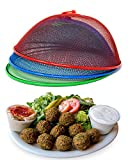 Metal Mesh Screen Food Cover Tent Umbrella, 10.75 inch, Reusable Outdoor Picnic Food Covers Mesh, Food Cover Net Keep Out Flies, Bugs, Mosquitoes (3 Pack, Green Blue Red)