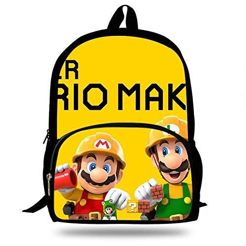 QIANMA Mario Mochilas Bolsa De La Escuela Super Mario Maker 2 Imprimir Niños Mochila para Adolescentes Bolsos De Hombro Niños Estilo Casual Mochila