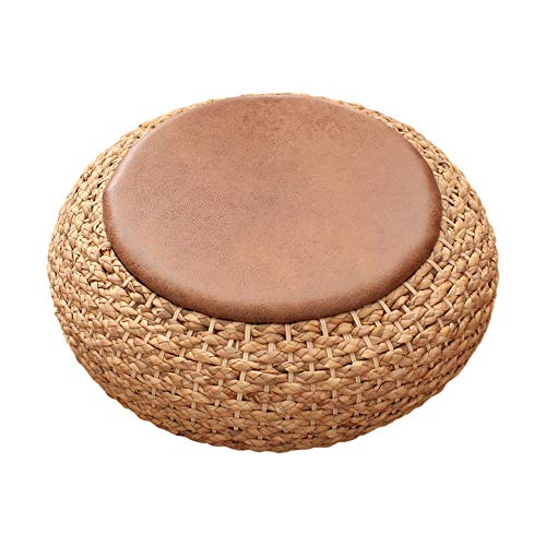 MRZHW Natural Round seat cushion Hand Woven Woven Straw Cushion Thicken Breathable Large Tatami Floor Cushion for Bedroom Sofa Floor-diameter 60cm Daffodil B