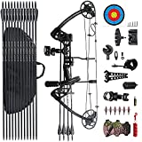 PANDARUS Compound Bow Draw 0-70 LB for Pull Beginner and Intermediate Archer Fully Adjustable 19.25'~31' with All Accessories New 2022 (Black)