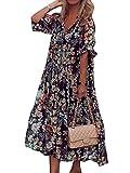 Minetom Damen Kleider Strand Elegant Casual A-Linie Kleid Langarm Sommerkleider Boho V-Ausschnitt Tunika Maxi Kleider Blumen Streifen Blumenkleid Maxikleid Schwarz XL