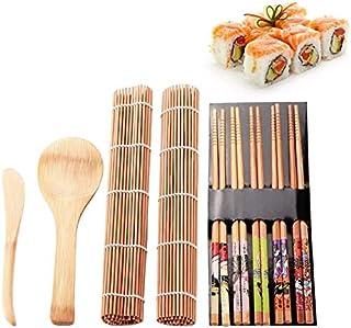 AMERTEER Sushi Making Kit Set 9 PCS, Sushi Rolling Mats Rice Paddle Rice Spreader Sushi Rolling Kit Bamboo Beginner Sushi Kit