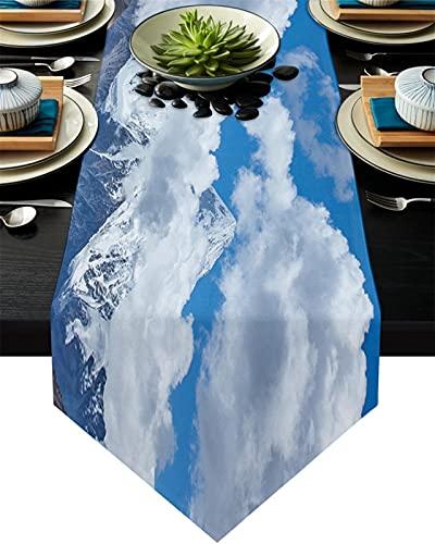 Chemin de table Alpes Snow Mountain Peaks Paysage Table Paysage Runner Table De Mariage Début Nappe Côte de Noël Décor de Noël pour la table à la maison Décoration (Couleur : J, Size : 41x183cm)