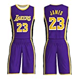 Jungen Mädchen Basketball Trikots James 23 Nummer Lakers Kinder Basketball Shirt Weste Top Sommershorts, Wettkampftraining Sport, Weste Kit-Purple-XS