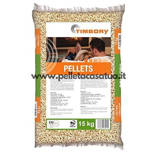 Pellet TIMBORY by PFEIFER 100% Abete - Qualità ENPLUS A1 - Alto potere calorifico (20 SACCHI DA 15 KG)