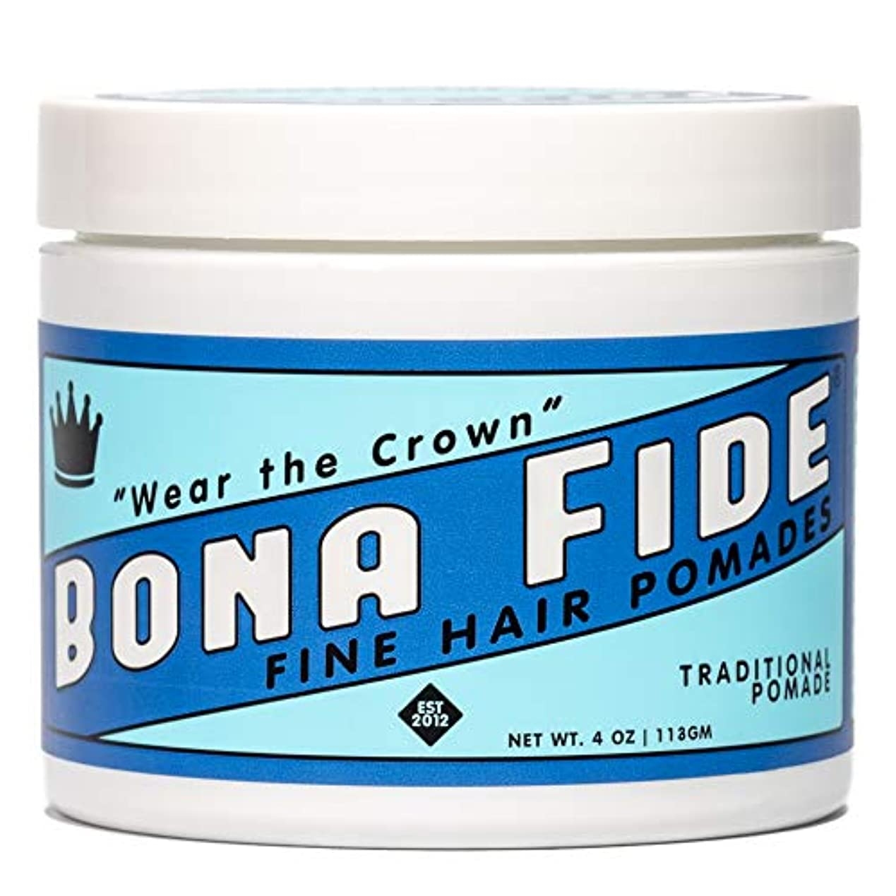 徹底満足できる沈黙Bona Fide Pomade, トラディショナルポマード, TRADITIONAL POMADE, 4oz (113g)、オイルベースポマード (整髪料/ヘアー スタイリング剤)