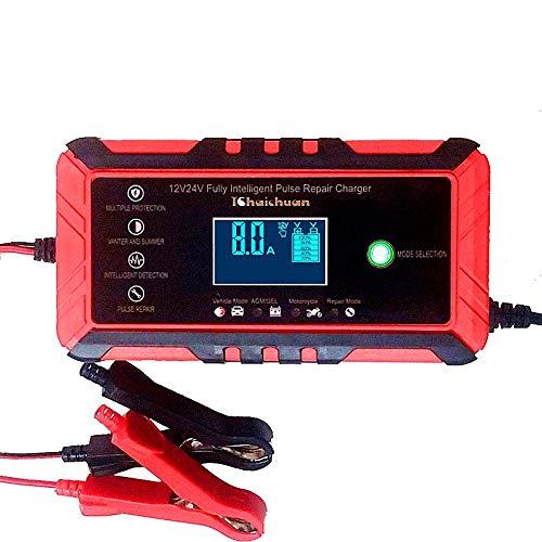 GOZAR 12V 8A/24V 4A Auto Batería Cargador Auto Voltaje Reconocimiento Inteligente Legumbres Recuperación Batería Cargador