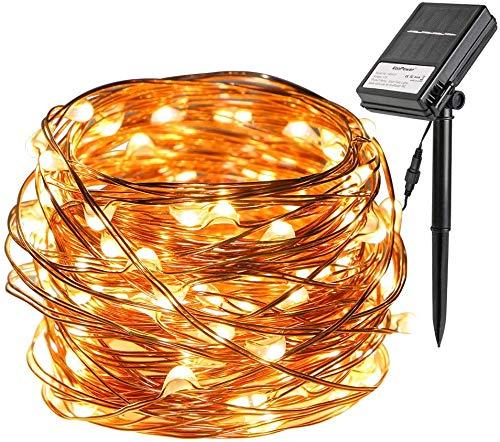 Koopower Solar und Batteriebetriebene LED Lichterkette, [8 Modes and Timer] 100 LED 10 Meter Outdoor wasserdicht Kupfer Lichterkette für Garten Weihnachten Hochzeit Party,Warmweiß