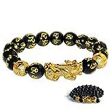 Katomi Bracelet de perles Feng Shui chinois Pi Xiu en obsidienne - Bracelet de richesse avec amulette sculptée à la main pour la chance et la richesse