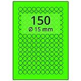 Labelident farbige Etiketten leuchtgrün - Ø 15 mm - 15000 Farbetiketten auf 100 Blatt