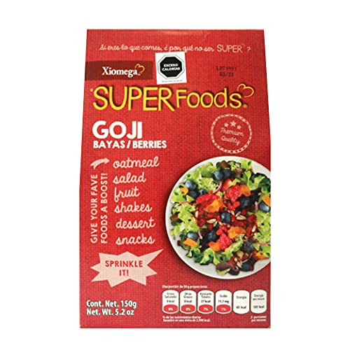 Xiomega Superfoods - Goji Berries - Bayas de Goji Deshidratadas - Ideales para Enriquecer Bebidas y Alimentos - Pouch de 150 Grs