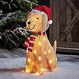 Lights4fun Decoración de Navidad Figura de Perro Labrador de...