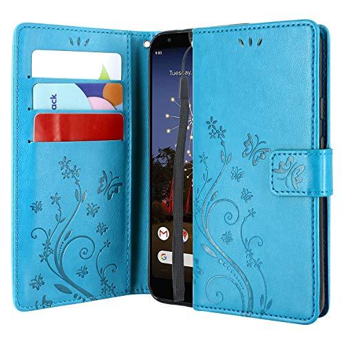 CMID Funda Samsung Galaxy M20, PU Cuero Libro Billetera Tapa Antigolpes Protective [Función de Soporte] Cartera Carcasa Case para Samsung Galaxy M20 (A-Azul)