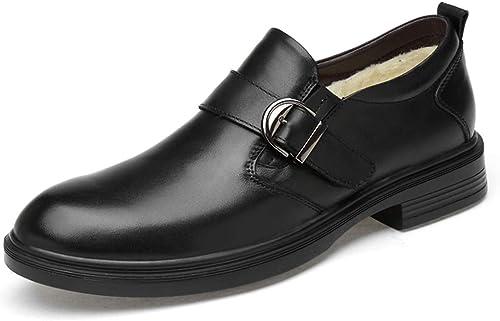 Yajie-chaussures, Chaussures Mode pour pour Hommes, Décontracté, Confortables et Pratiques, Chaussures Formelles doublées en Polaire de Grande Taille (Classique en Option) (Couleur   Warm noir, Taille   49 EU)  protection après-vente