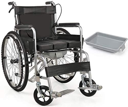 GDD Rollstuh Faltrollstuhl Faltbare Rollstuhl, Ultra-Leicht Transport Stuhl Ergonomischer Bequeme Armlehne Hebebeinstütze-Commode